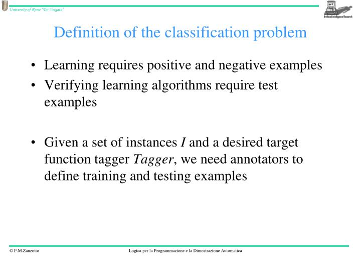 Definition of the classification problem