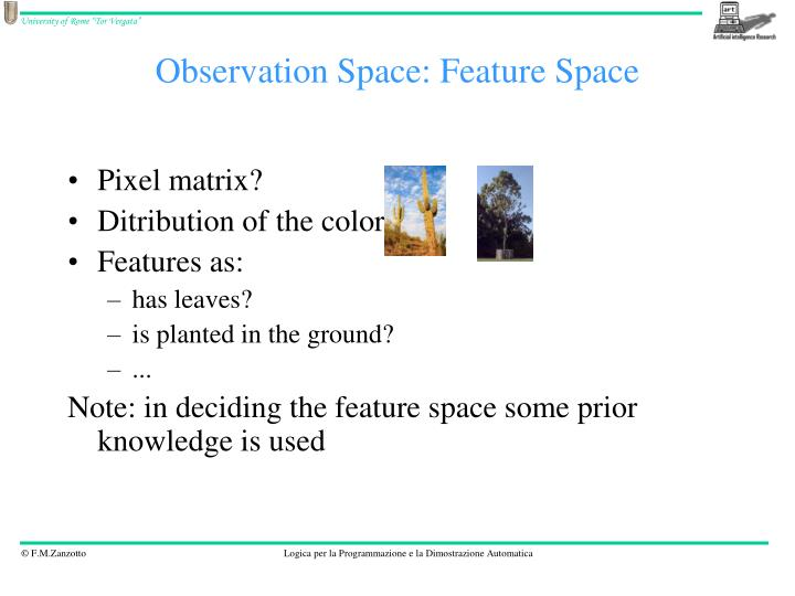 Observation Space: Feature Space