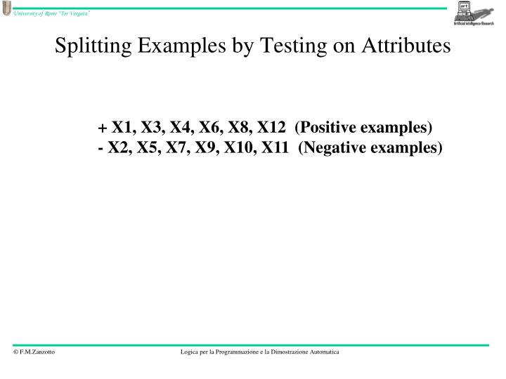 Splitting Examples by Testing on Attributes