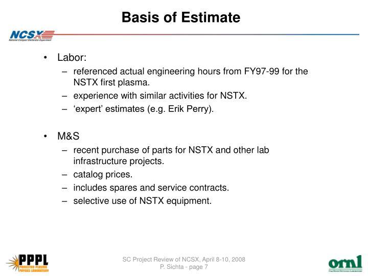 Basis of Estimate