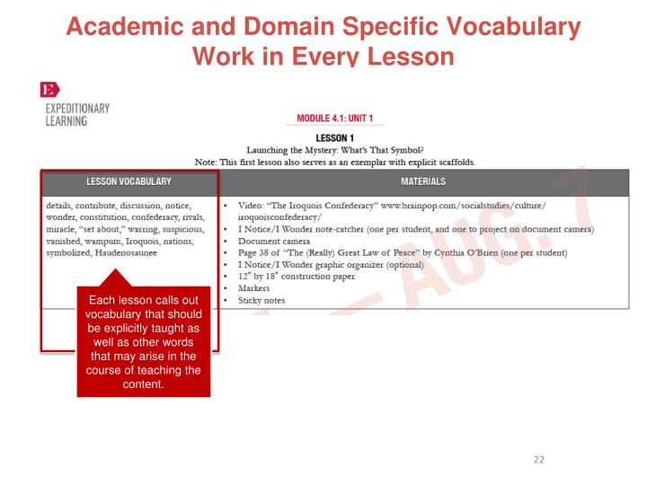 Academic and Domain Specific Vocabulary Work in Every Lesson
