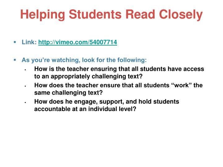 Helping Students Read Closely