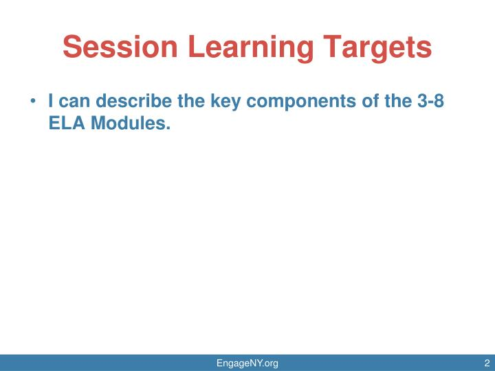 Session Learning Targets