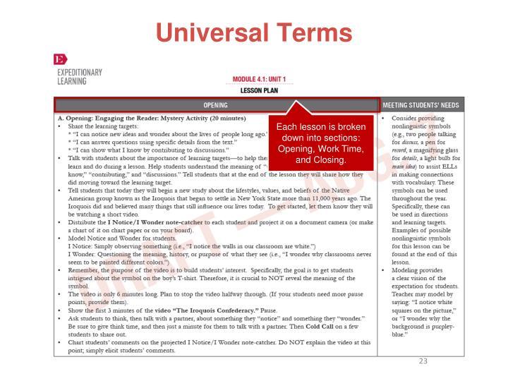 Universal Terms