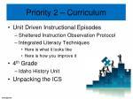 priority 2 curriculum