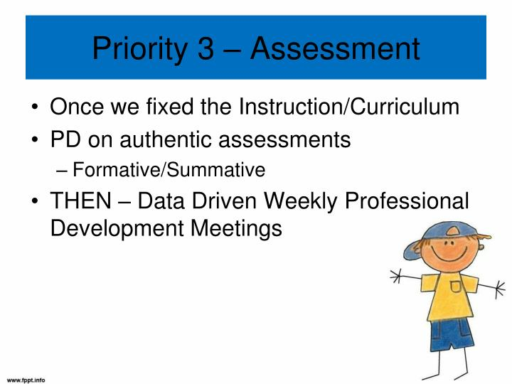 Priority 3 – Assessment