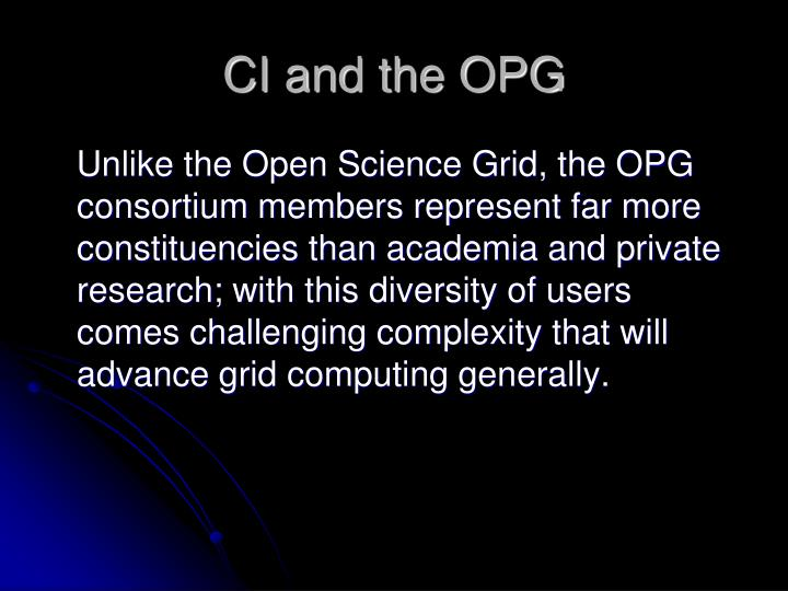 CI and the OPG