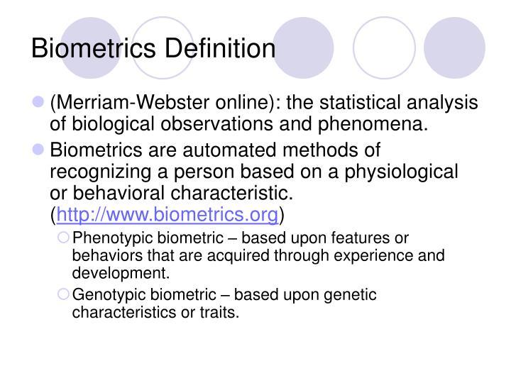 Biometrics Definition
