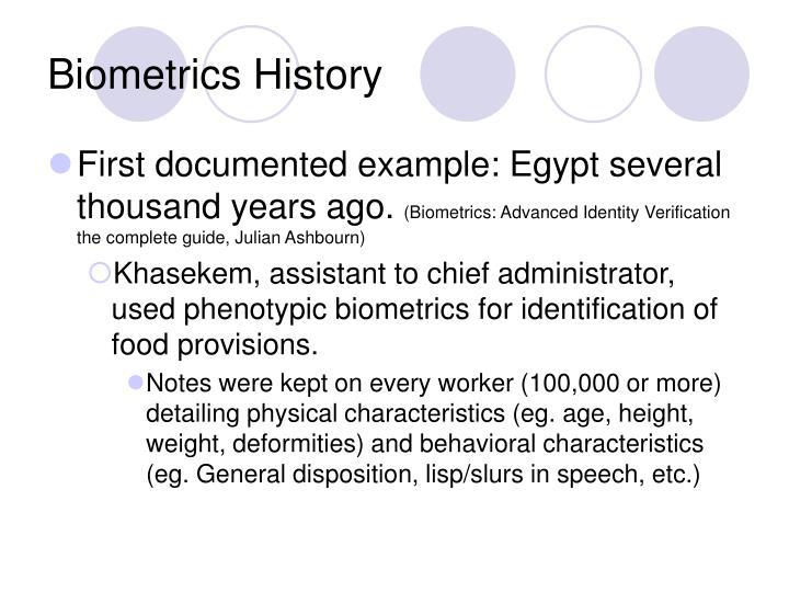 Biometrics History