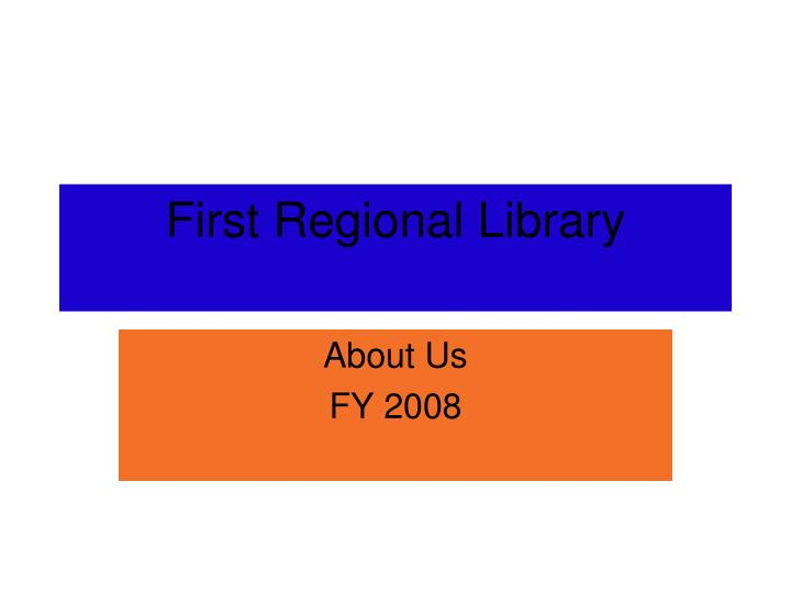 first regional library