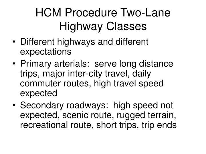 HCM Procedure Two-Lane Highway Classes
