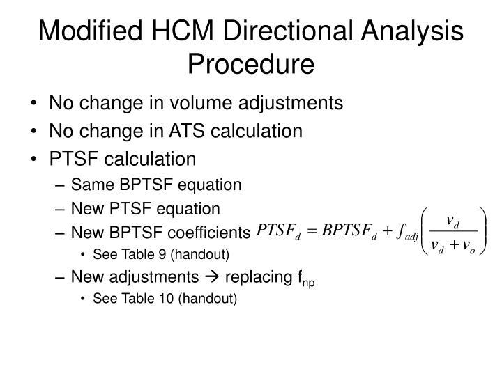 Modified HCM Directional Analysis Procedure