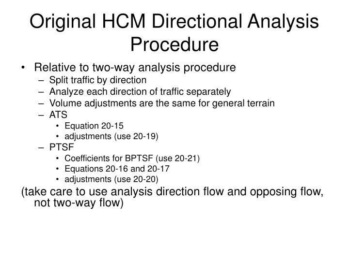 Original HCM Directional Analysis Procedure