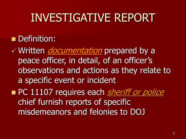 INVESTIGATIVE REPORT