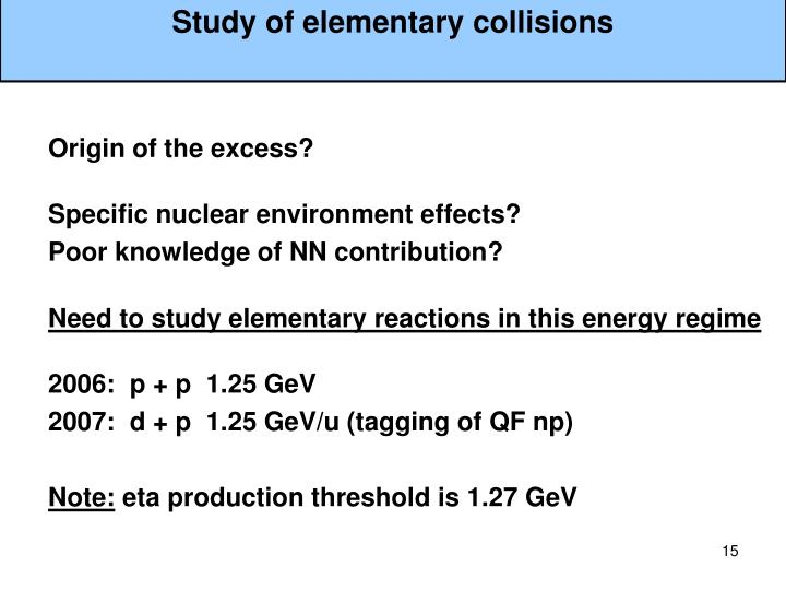 Study of elementary collisions