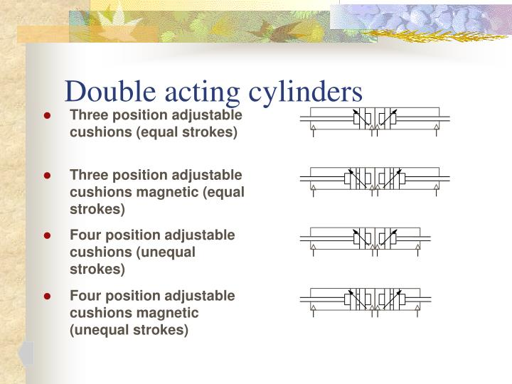Double acting cylinders