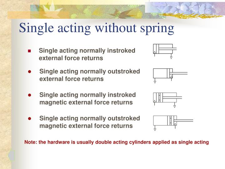 Single acting without spring