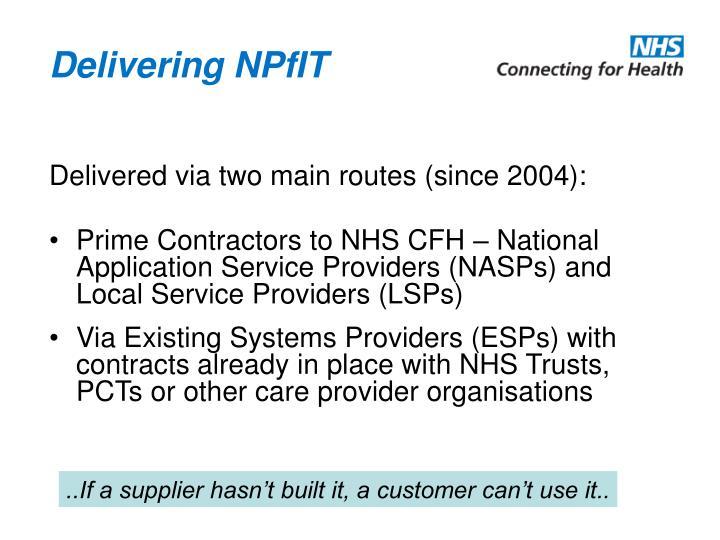Delivering NPfIT