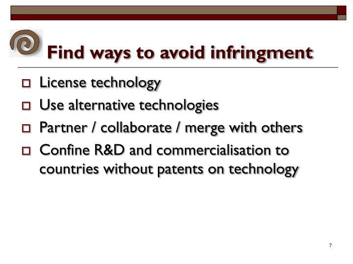 Find ways to avoid infringment