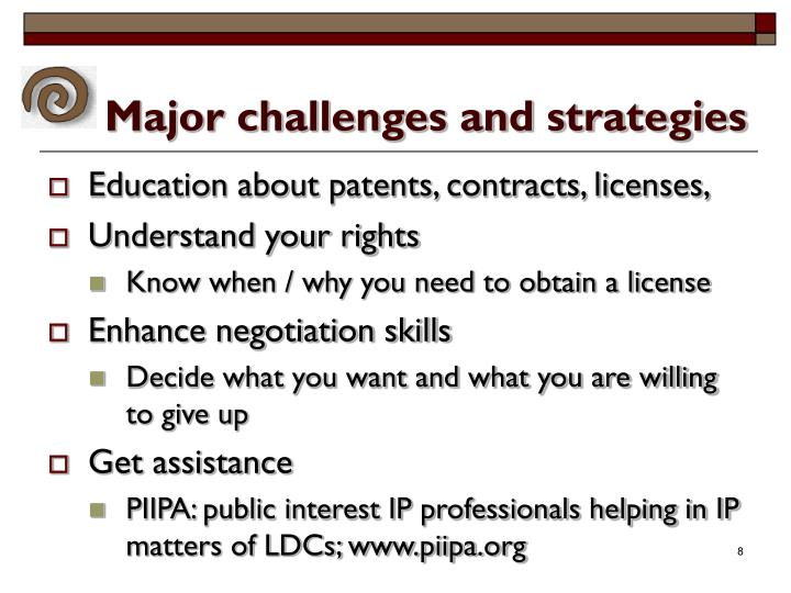 Major challenges and strategies