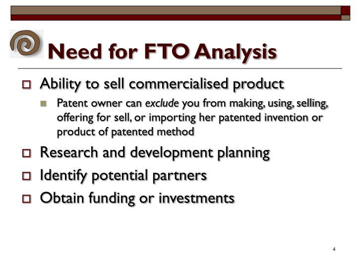 Need for FTO Analysis