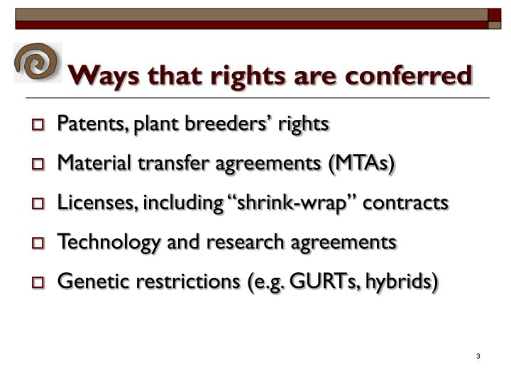 Ways that rights are conferred