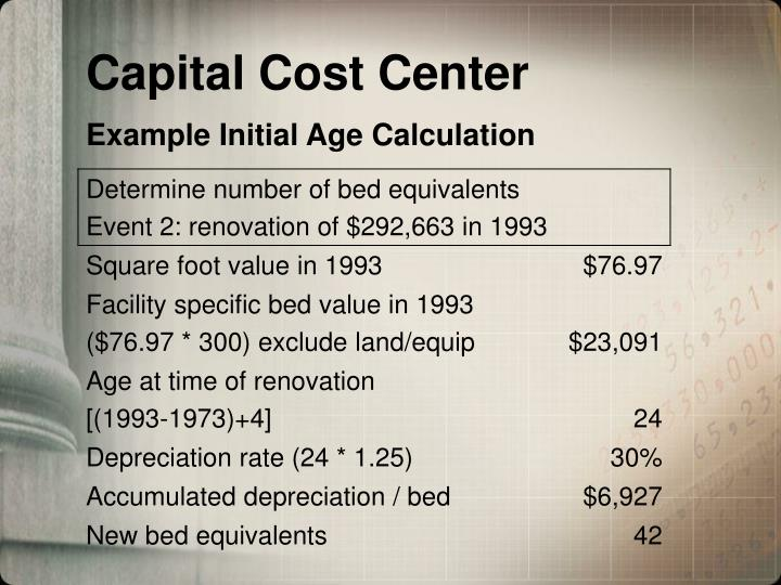 Capital Cost Center