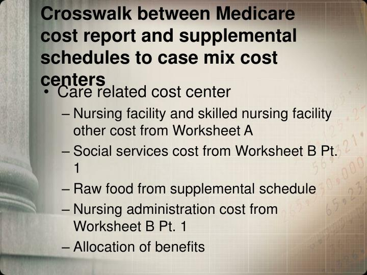 Crosswalk between Medicare cost report and supplemental schedules to case mix cost centers