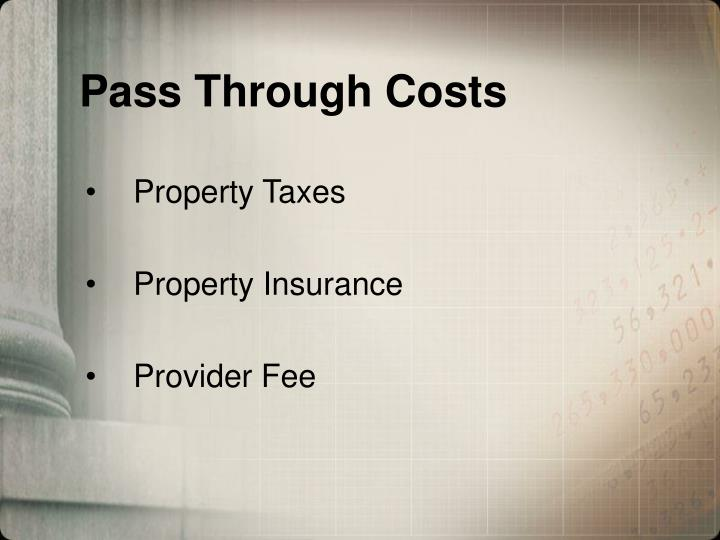 Pass Through Costs