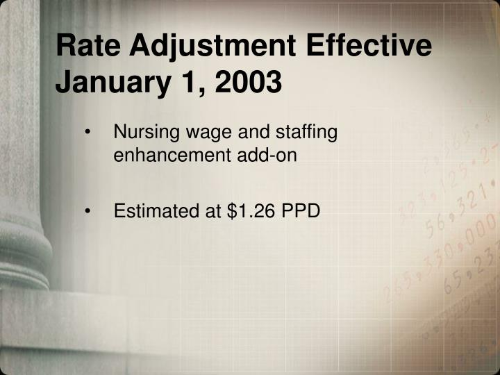 Rate Adjustment Effective January 1, 2003