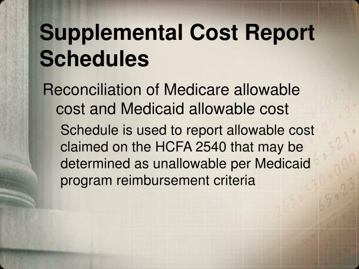 Supplemental Cost Report Schedules