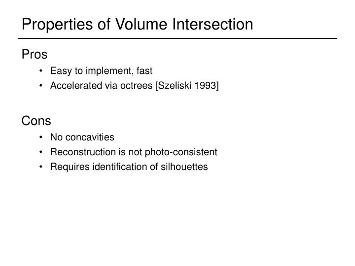 Properties of Volume Intersection