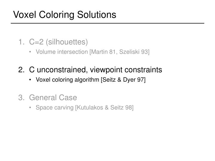Voxel Coloring Solutions