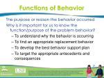 functions of behavior