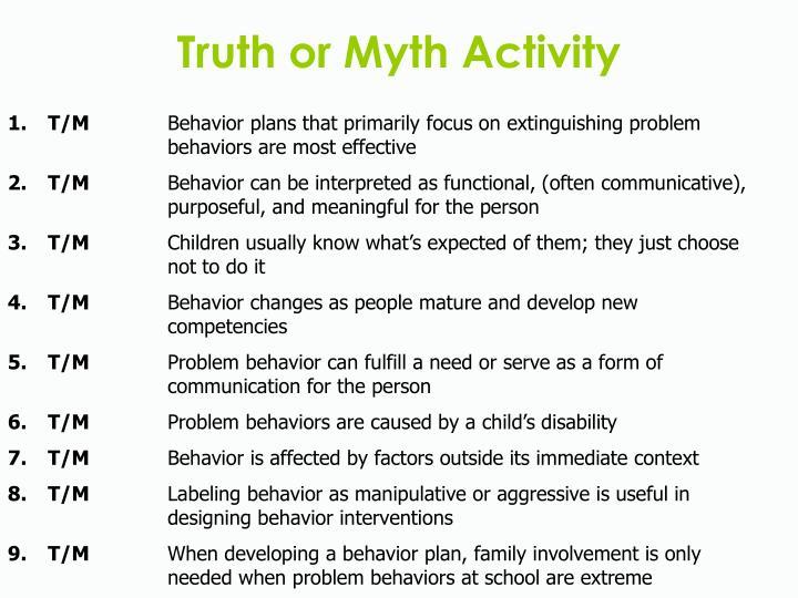 Truth or Myth Activity