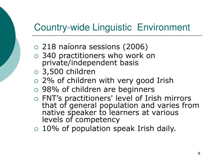 Country-wide Linguistic  Environment