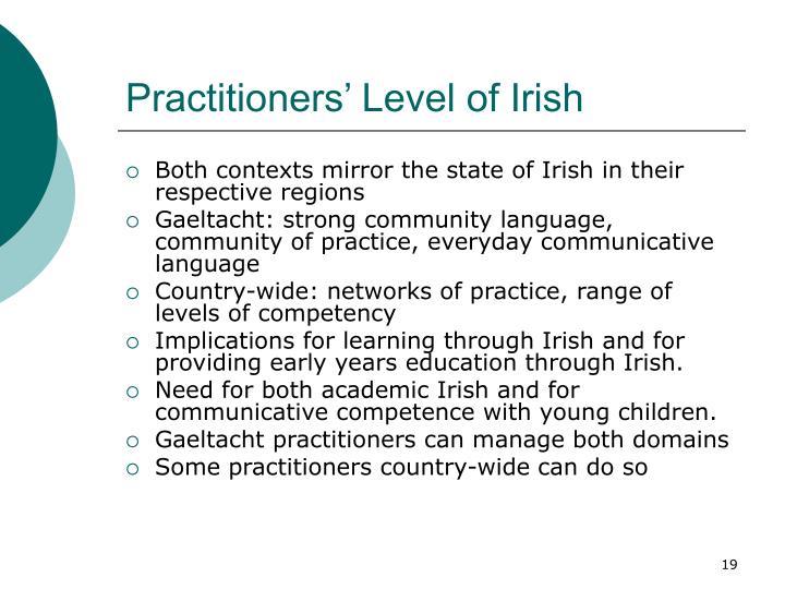 Practitioners' Level of Irish