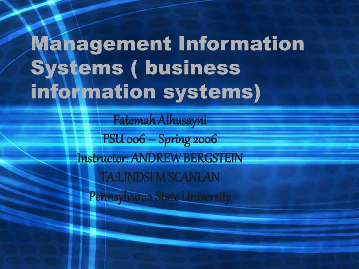 Management information systems business information systems