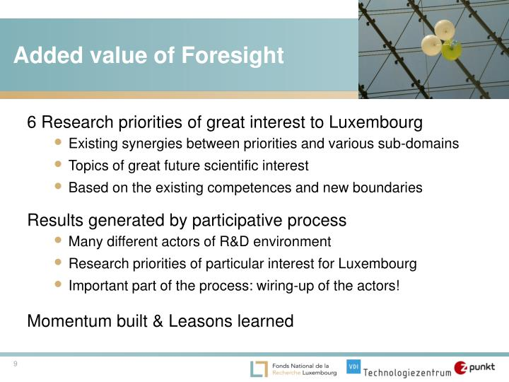 Added value of Foresight