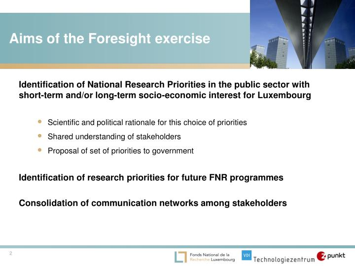 Aims of the foresight exercise