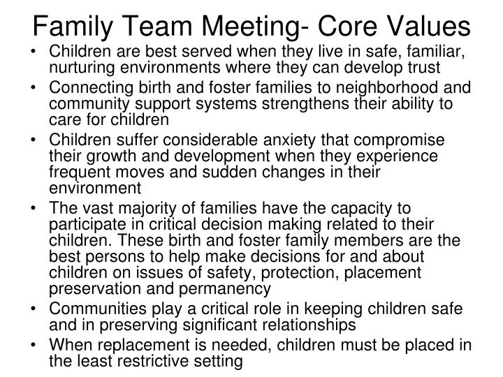Family team meeting core values