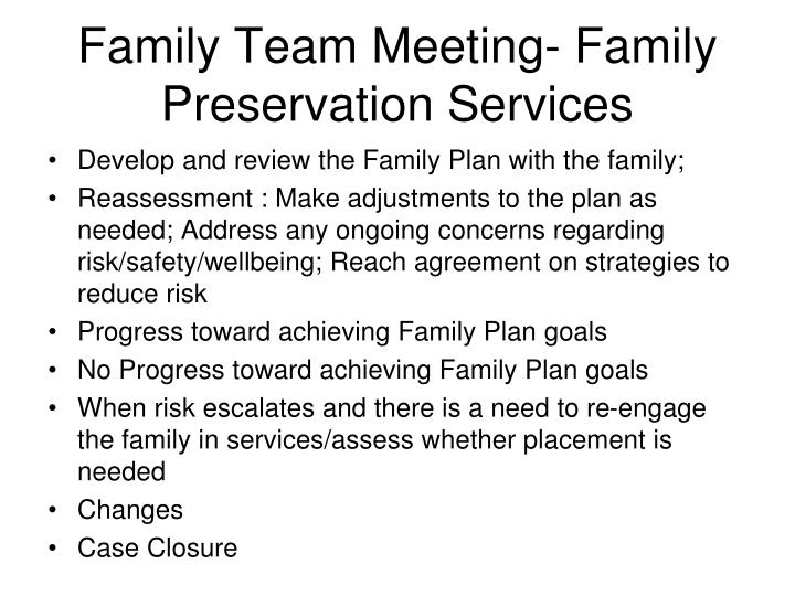 Family Team Meeting- Family Preservation Services