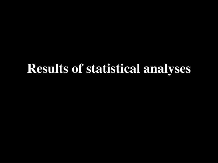 Results of statistical analyses