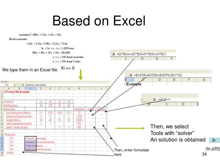Based on Excel