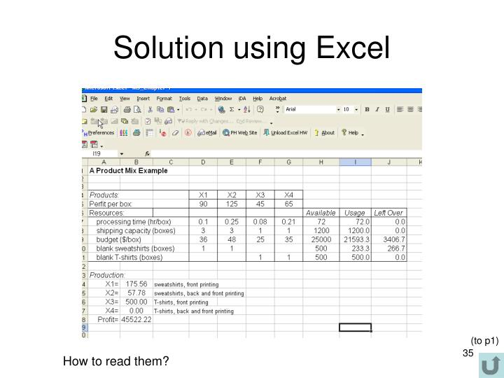 Solution using Excel