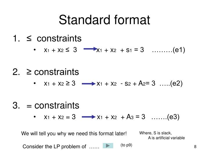 Standard format