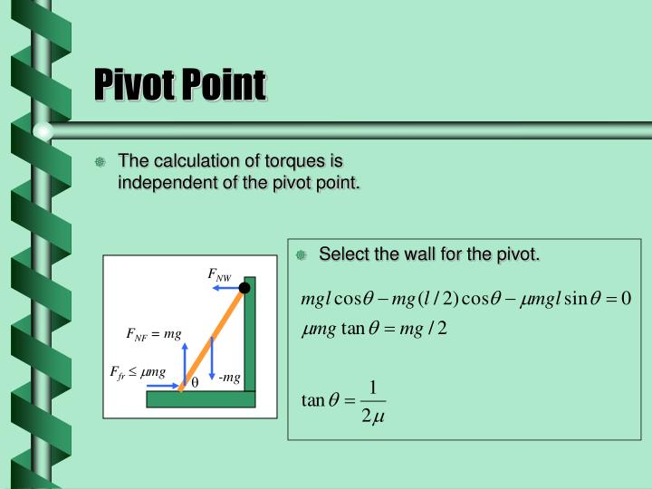 The calculation of torques is independent of the pivot point.