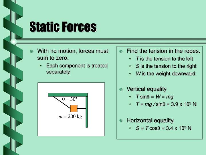 With no motion, forces must sum to zero.