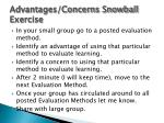 advantages concerns snowball exercise