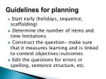 guidelines for planning